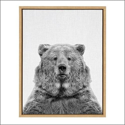Black & White Brown Bear Framed Canvas Wall Art - 18 x 24 Inches / Frame