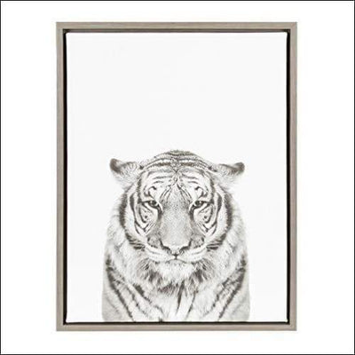 Black & White Tiger Framed Canvas Wall Art - 1.6 x 18 24 Inches