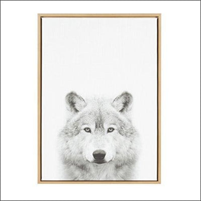 Black & White Wolf Framed Canvas Wall Art