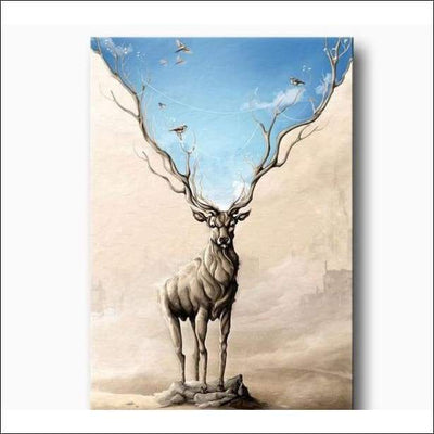 Blue Sky Long Horn Deer Framed Canvas Painting