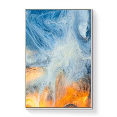 Blue Smoke Abstract Framed Canvas Wall Art
