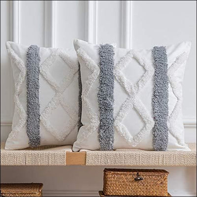 Bohemian Woven Tufted 2PC Throw Pillow Cover Set
