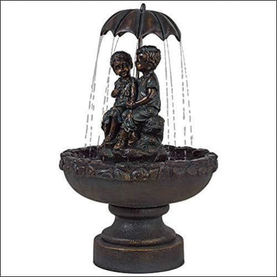 Boy & Girl Under Umbrella Floor Water Fountain