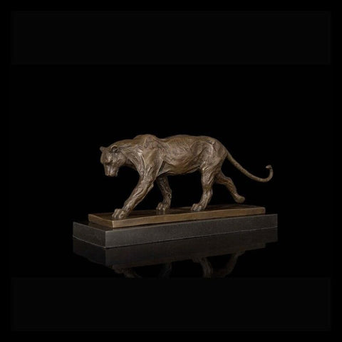 Bronze Cast Panther Sculpture