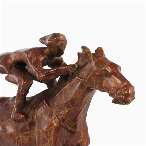 Bronze Copper Horse Racer Sculpture