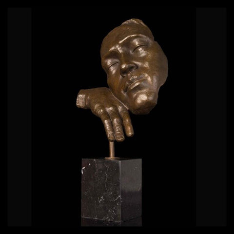 Bronze Marble Abstract Face Sculpture
