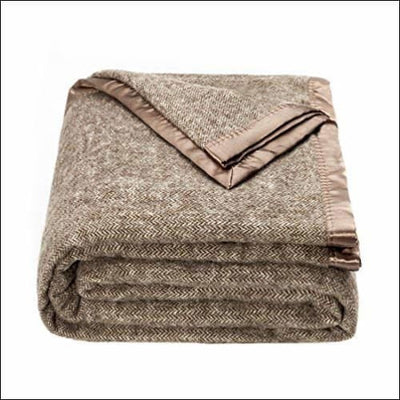 Brown Australian Herringbone Wool Throw Blanket