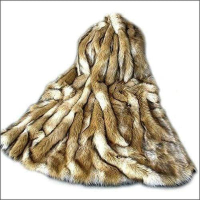 Brown Coyote Stipe Faux Fur Throw Blanket