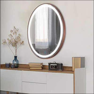 Brushed Bronze Frame Anti-fog Touch LED Wall Mirror - Lighted Mounted