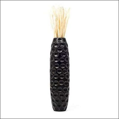 Bulbous Black Mango Wood Floor Flower Vase