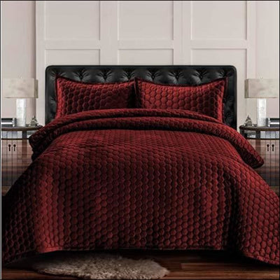 Burgundy Honeycomb Velvet 3PC Quilt Set