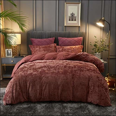 Burgundy Velvet Weighted 3PC Bedding Set