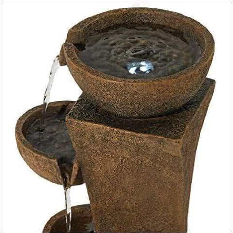 Cascading Bowls Rustic Floor Water Fountain
