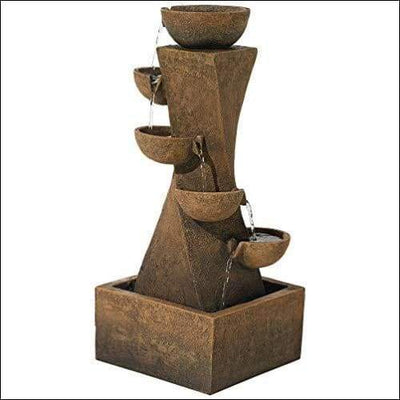 Cascading Bowls Rustic Floor Water Fountain - Outdoor