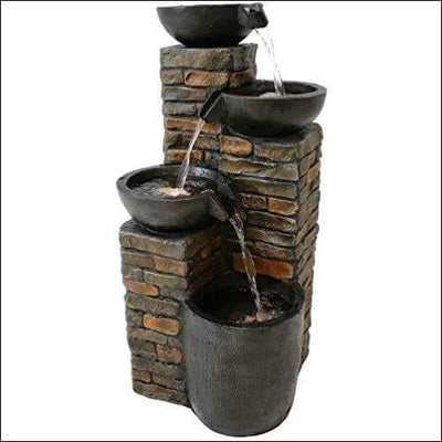 Cascading Pottery Bowls LED Floor Water Fountain
