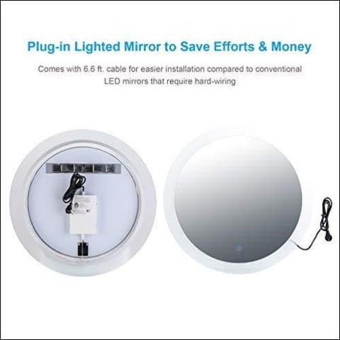 Contemporary Touch Lighted Wall Mounted Mirror