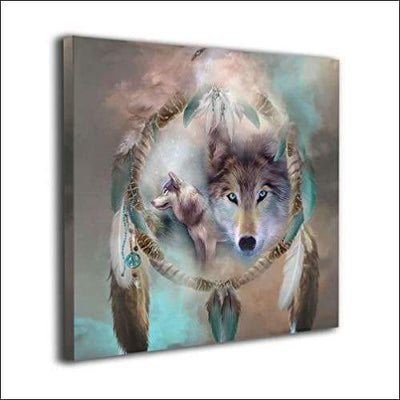 Cool Wolf Dream Catcher Framed Canvas Painting