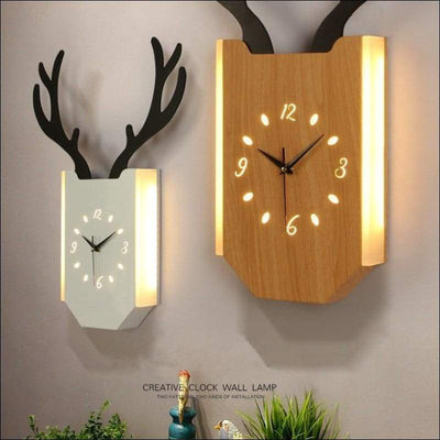 Creative Antlers Clock Wall Lamp