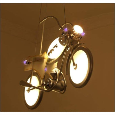 Creative Motorcycle Pendant Ceiling Lamp - White