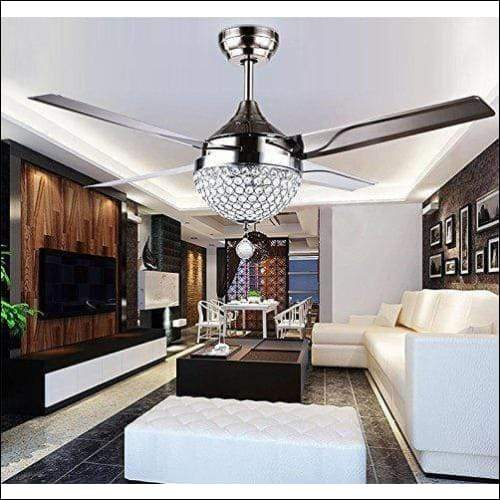 Crystal Stainless Steel Fan Ceiling Lamp - Ceiling Lamps
