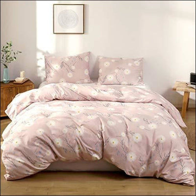 Dandelion Pink Floral Cotton 3PC Bedding Set