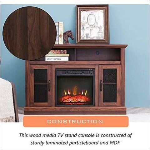 wooden electric fireplace stand