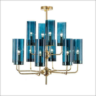 Electroplated Blue Cognac Chandelier Ceiling Lamp
