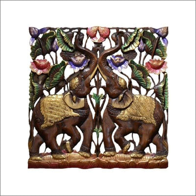 Elephant Thailand Carved Wooden Canvas Painting