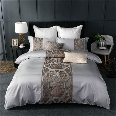 Embroidered Egyptian Cotton Linen 7PC Bedding Set