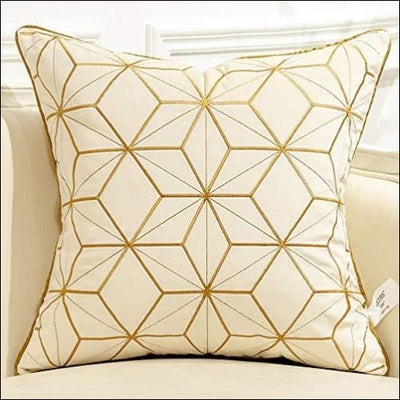 Embroidered White Gold Plaid Throw Pillow Cover