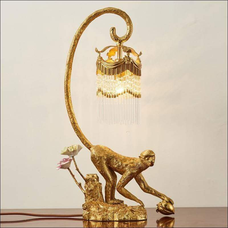Engraved French Crystal Brass Villa Table Lamp
