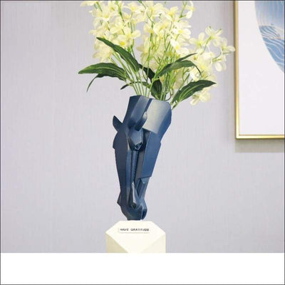Engraved Mighty Horse Head Tabletop Flower Vase