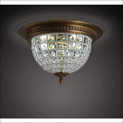 European Antique Gold Crystal Ceiling Lamp