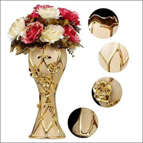 luxury golden tabletop flower vase