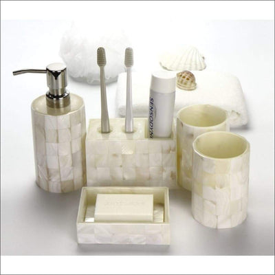 European Shell Ceramic 7PC Soap Dispenser Set