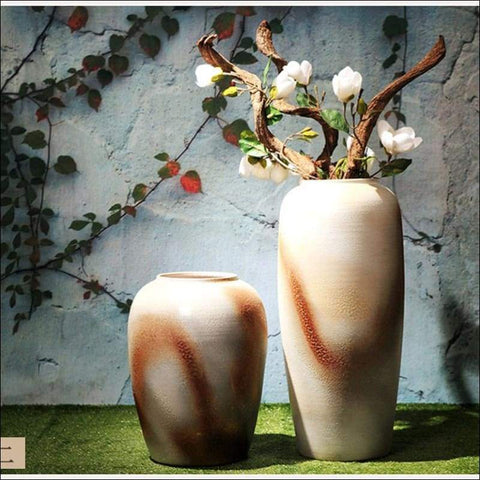 two luxury white floor flower vase