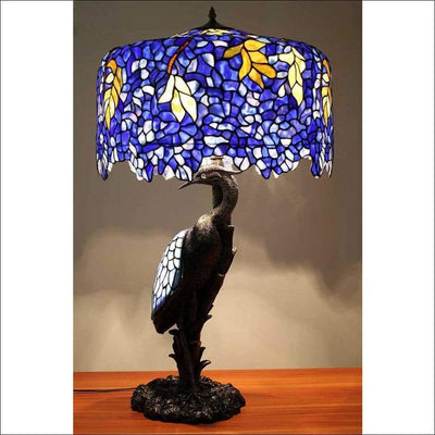 European Wisteria Crane Table Lamp