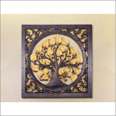 Exotic Tree of Life Carved Wooden Canvas Painting