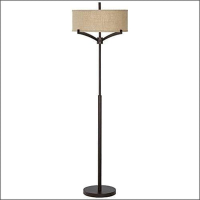 Farmhouse Bronze Tan Burlap Floor Lamp