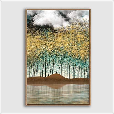 Foggy Forest Framed Canvas Painting