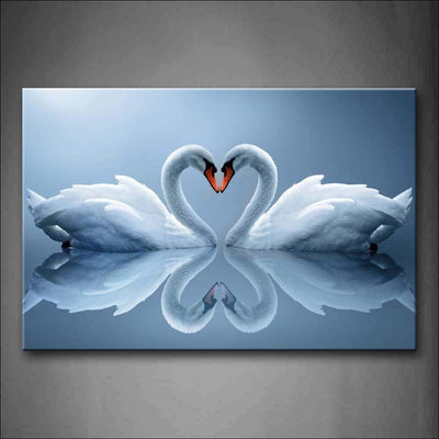 Framed Heart Water Swan Canvas Painting