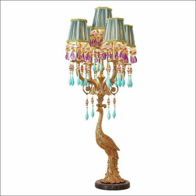 French Peacock Villa Crystal Gold Table Lamp