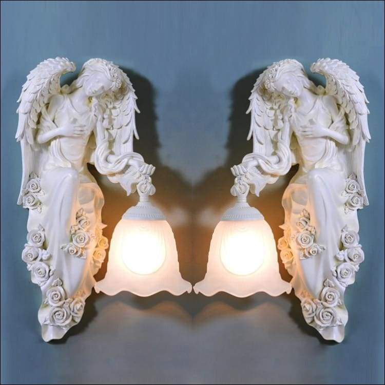 Frosted Glas Engraved Angel Statue Wall Lamp - Wall Lamps
