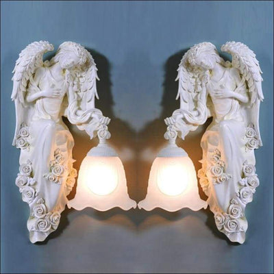 Frosted Glas Engraved Angel Statue Wall Lamp