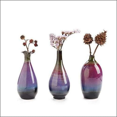 Fuchsia Bright Glaze 3PC Tabletop Flower Vase Set