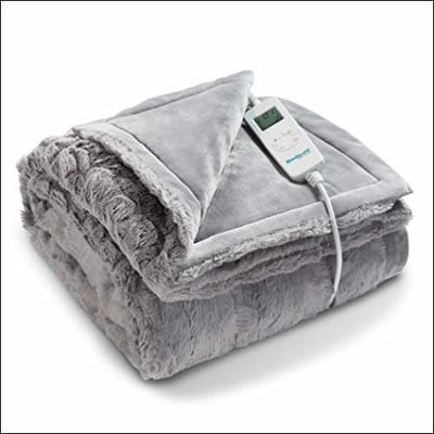 Fuzzy Flannel Fleece Heated Throw Blanket - Electric