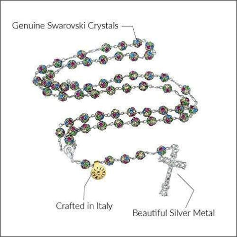 Genuine Italian Swarovski Crystal Christian Rosary Necklace - novariancreations.com