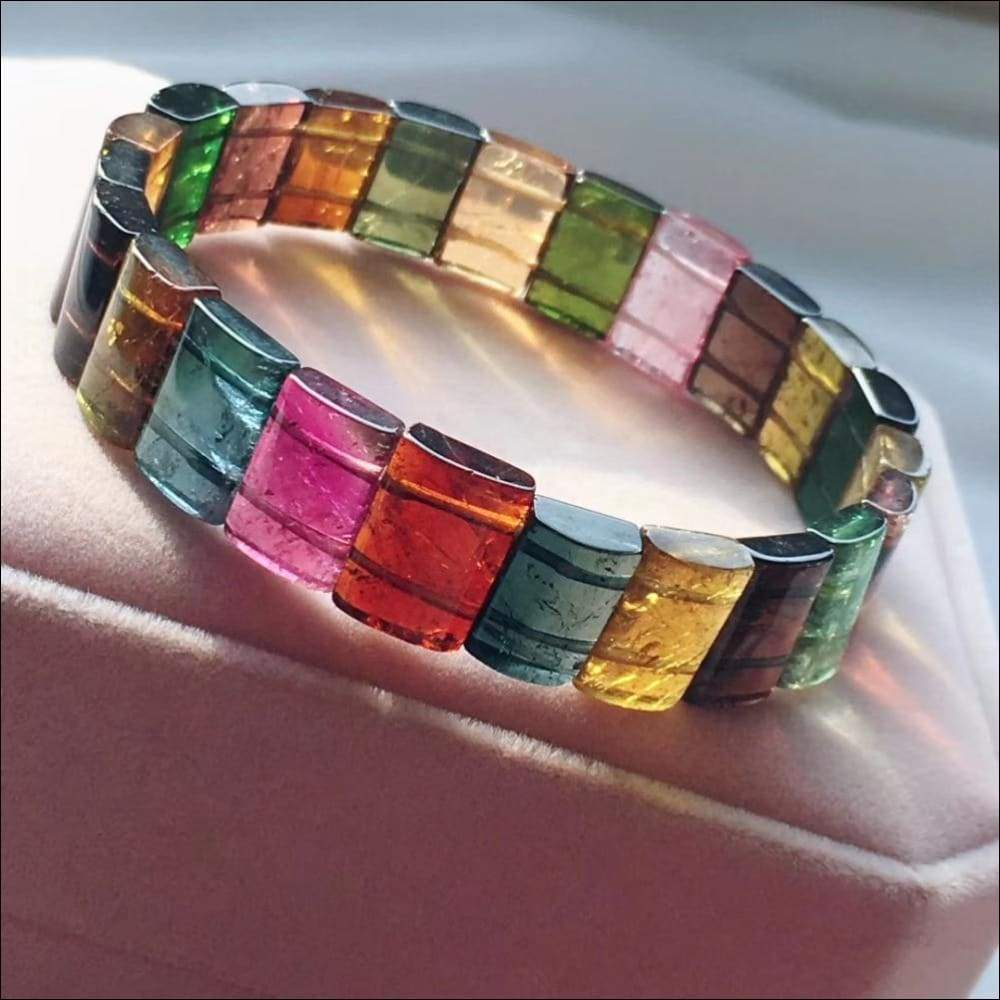 Genuine Rainbow Crystal Tourmaline Bangle Bracelet