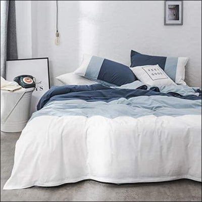 Geometric Blue & White Cotton 3PC Bedding Set