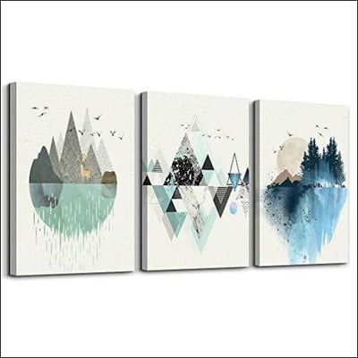 Geometric Mountain 3PC Framed Canvas Painting